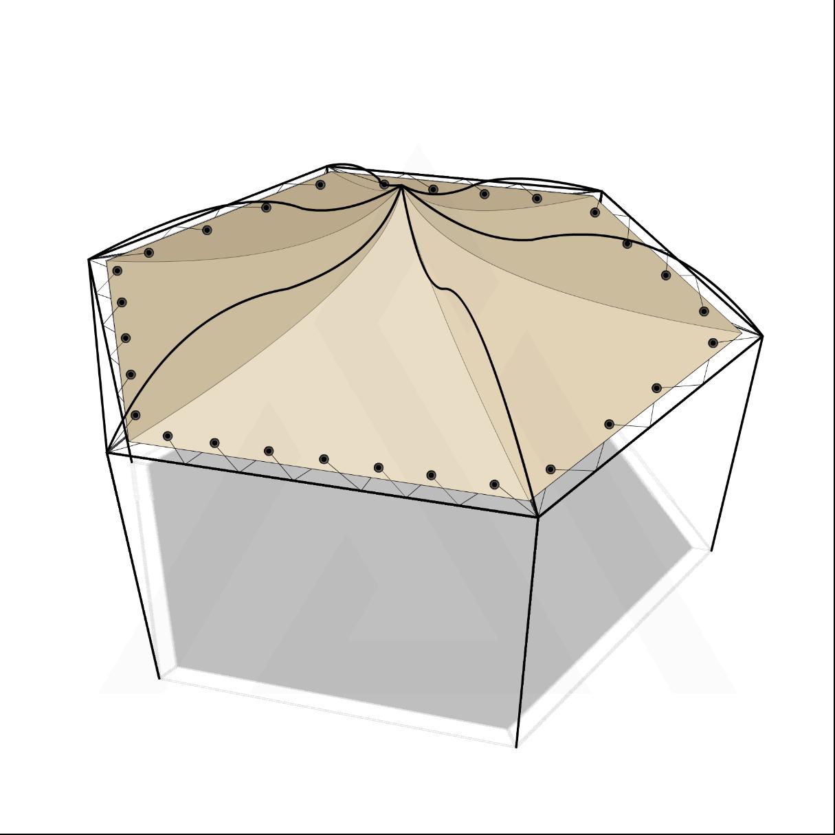 Bâche tonnelle hexagonale suspendue