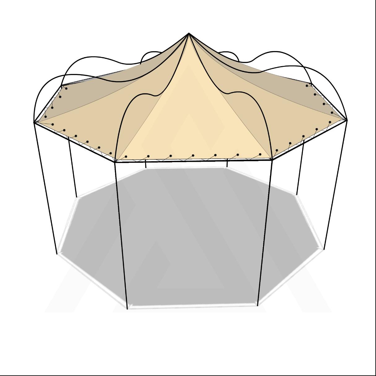 Bâche tonnelle octogonale suspendue