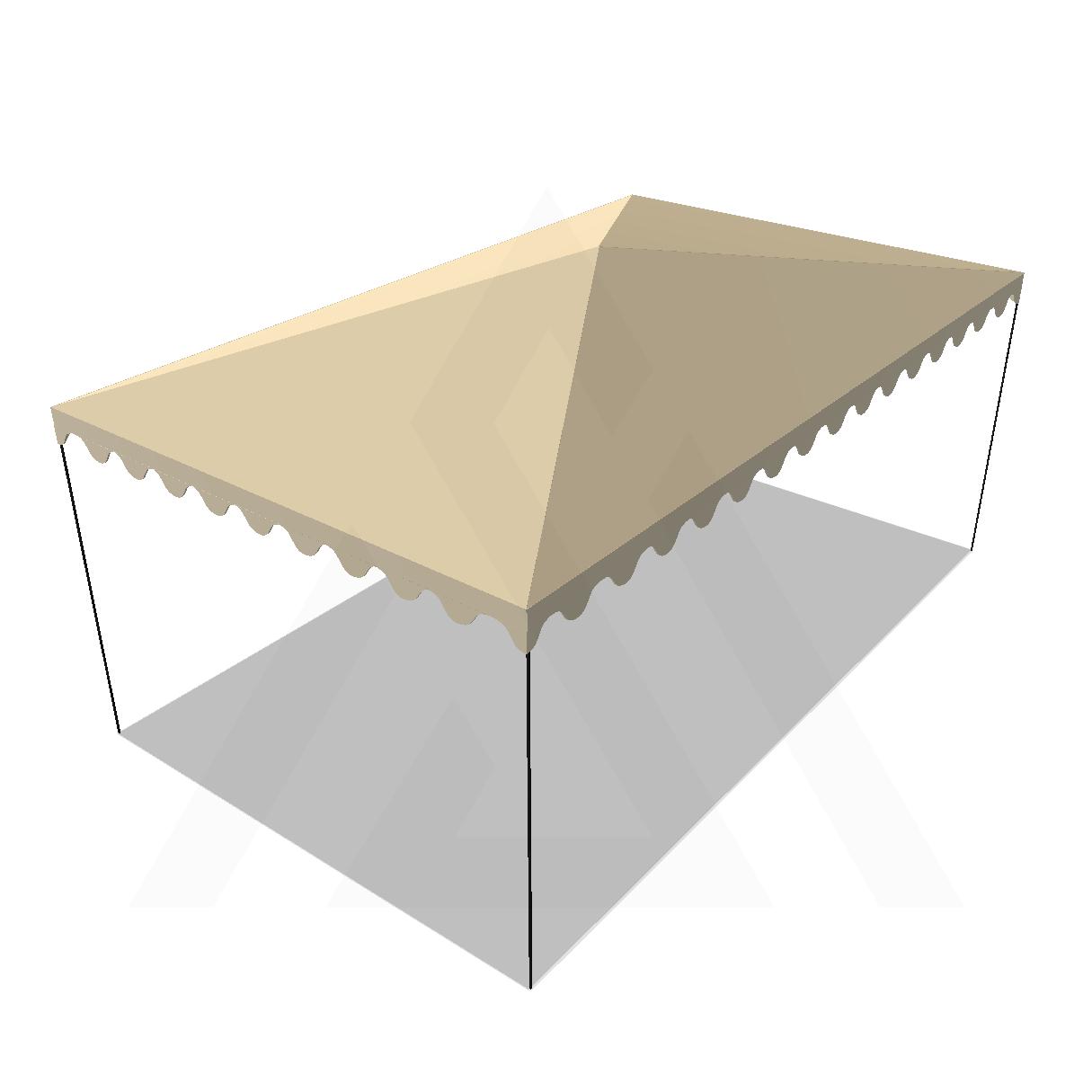 Bâche tonnelle rectangle 4 pentes sans faîtage