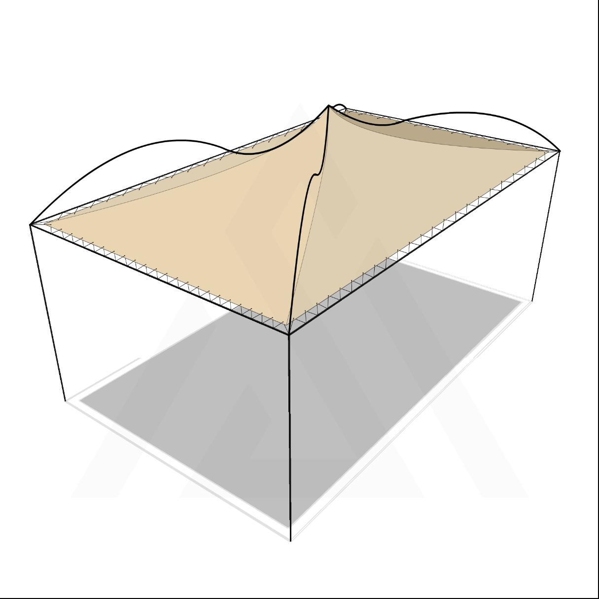 Bâche tonnelle rectangle 4 pentes suspendue