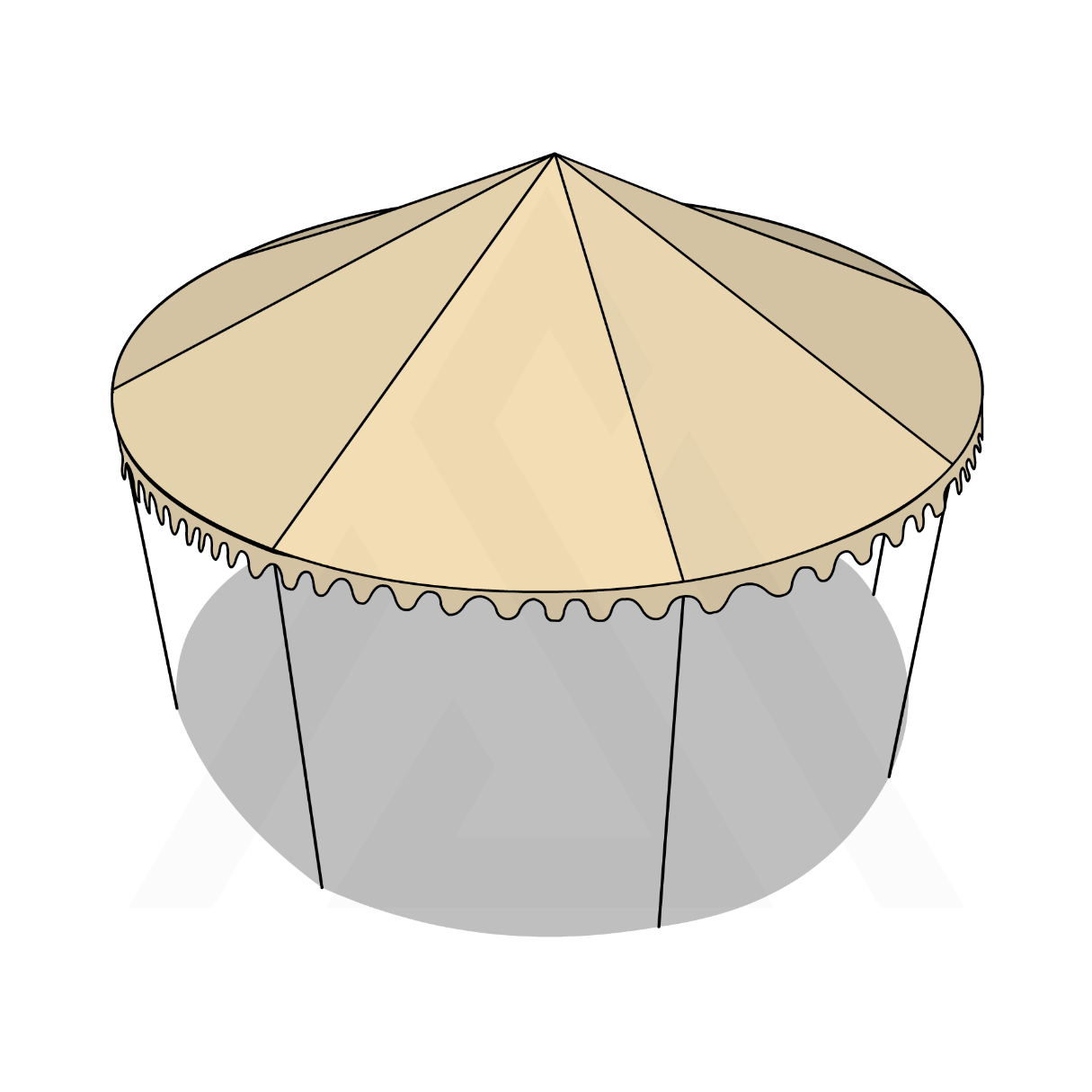 Bâche tonnelle ronde conique