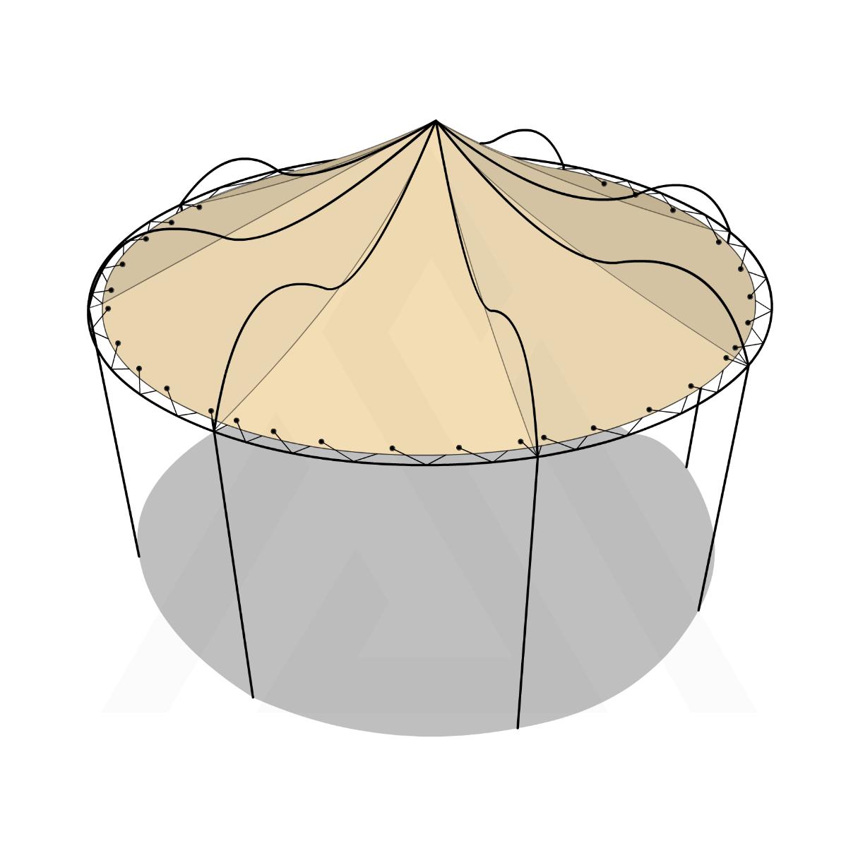 Bâche tonnelle ronde conique suspendue