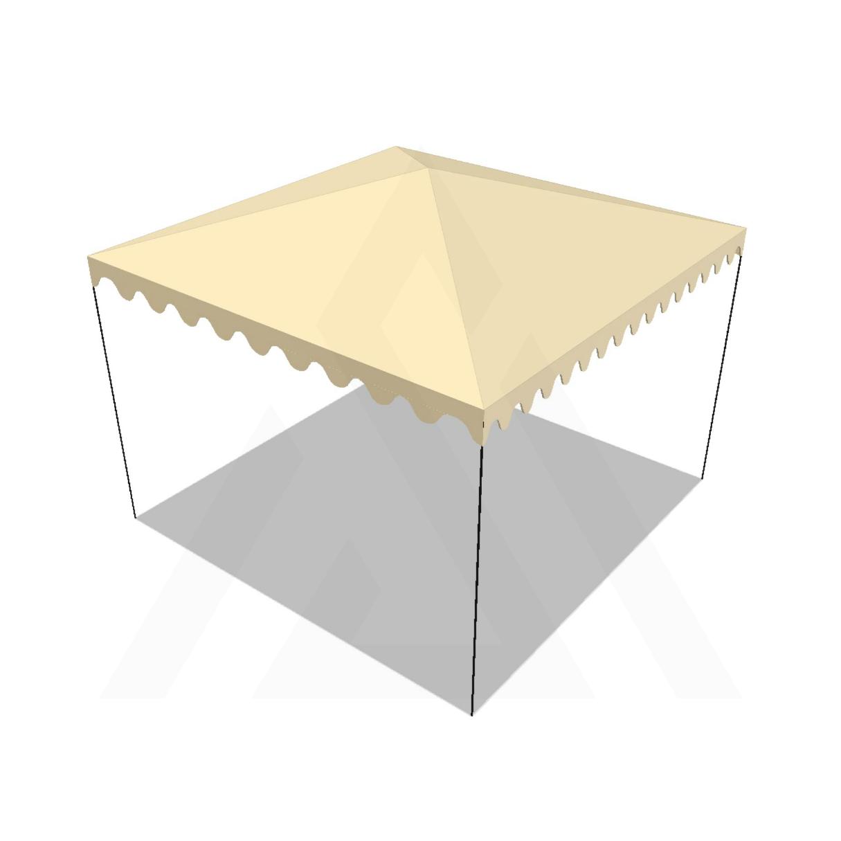 Bâche tonnelle carrée 4 pentes sans faîtage