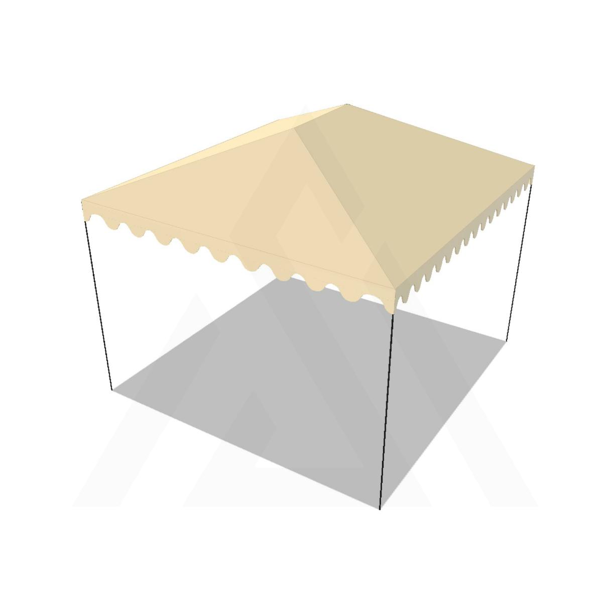 Bâche tonnelle carrée 4 pentes avec faîtage