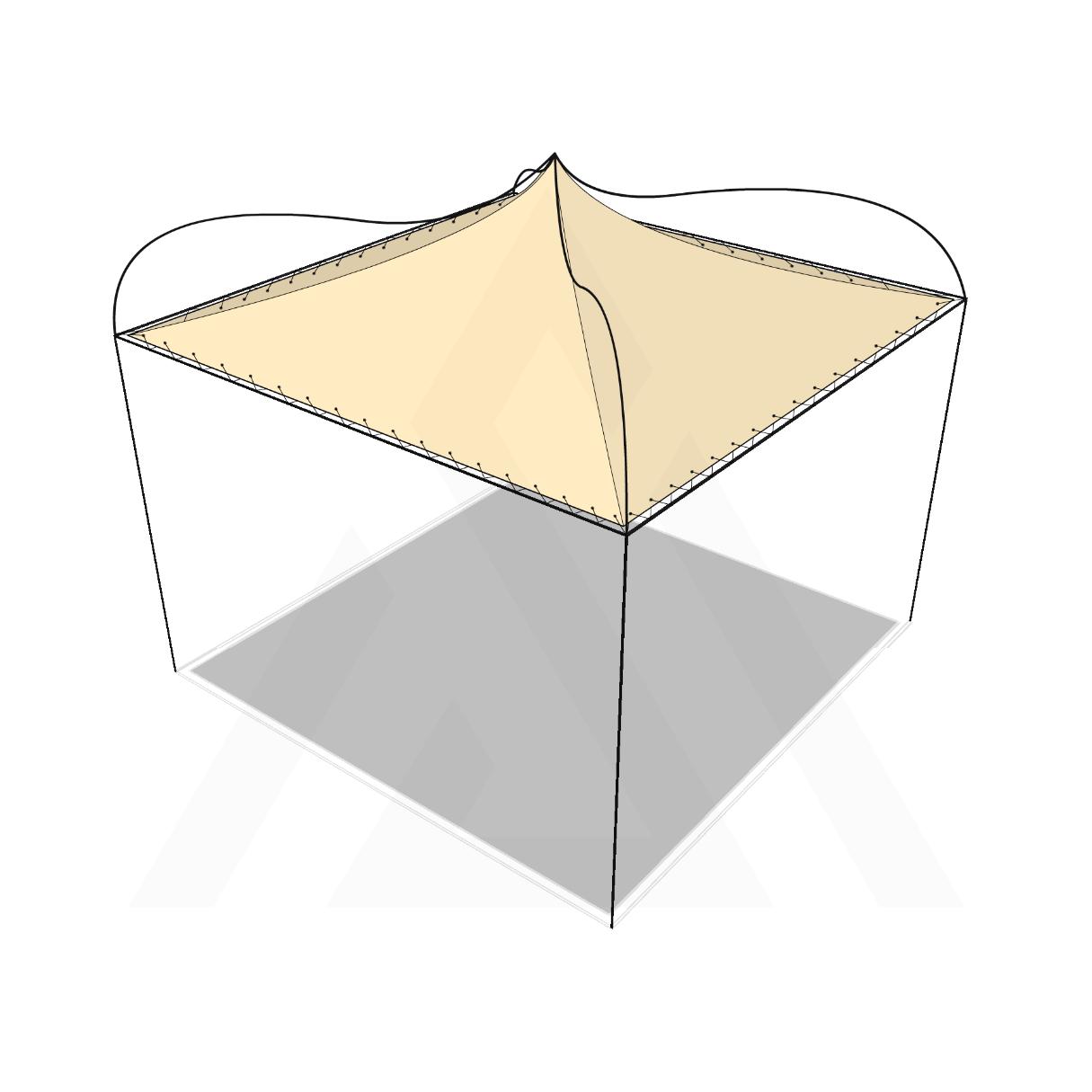 Bâche tonnelle carrée 4 pentes suspendue